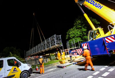 30-metre-long temporary footbridge over the River Witham
