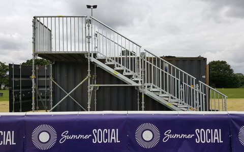 temporary staircase at summer Social event